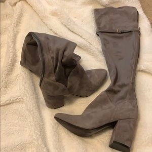 Two Tone Gray Suede Knee High Boots